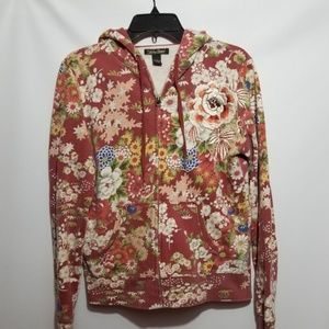 Vintage Lucky brand floral embroidered hoodie